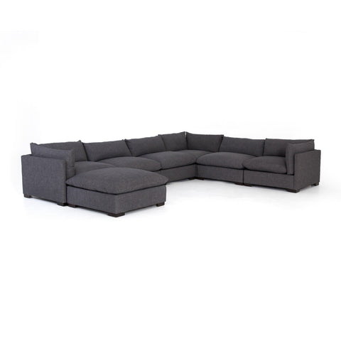 Wilcox 6-Piece Sectional + Ottoman Charcoal Angled Frontview