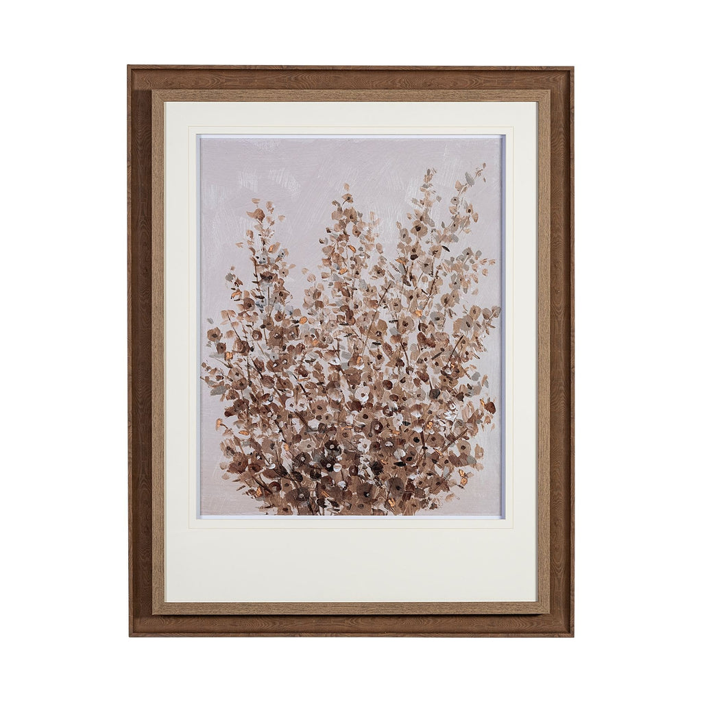 Wildflower Artwork brown wood frame multicolored white paper base