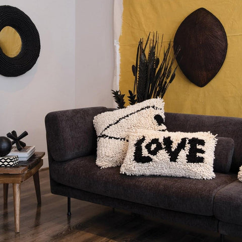 Love Fringe Pillow wool cream black trendy textile valentines day