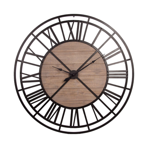 Wright Clock wall products metal wood black