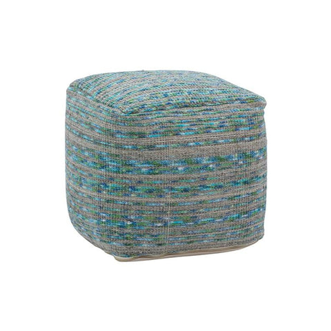 Zachary Pouf turquoise grey wool pouf trendy striped design