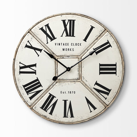 Zann Clock rustic ivory metal wall product