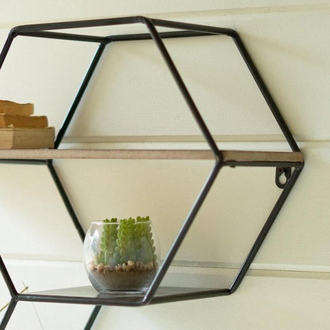 Zuma Shelf black metal frame wood shelf modern hexagon piece