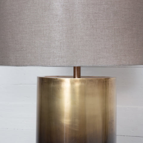 Alicia table lamp brass ombre cotton shade iron base