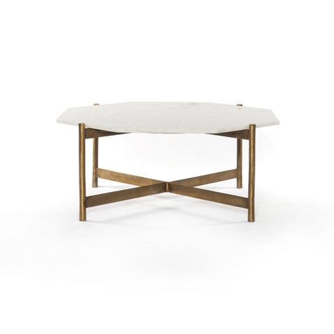 Alistair brass base white marble hexagon top coffee table glam