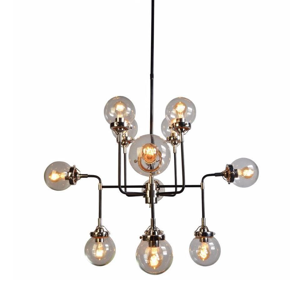 Allen black iron silver chandelier