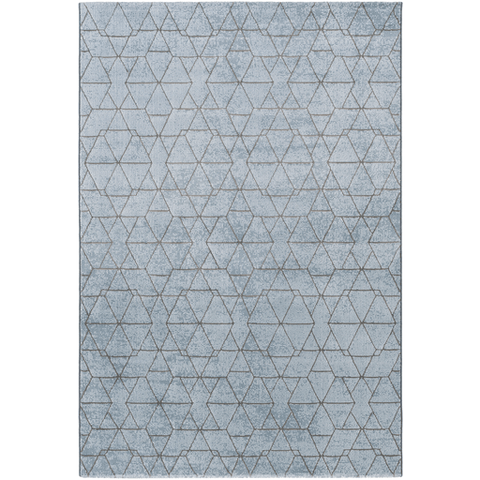 Alpine acrylic blue grey geometric rug