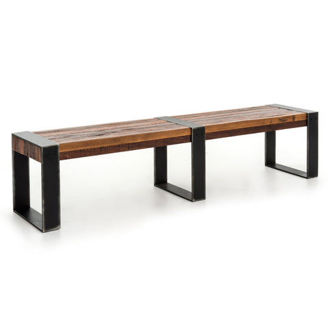 Anthony peroba wood black iron bench