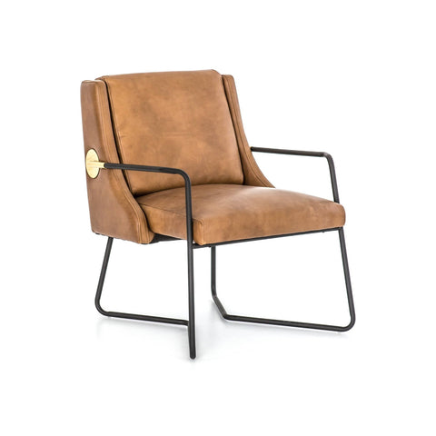 archer leather metal brown chair