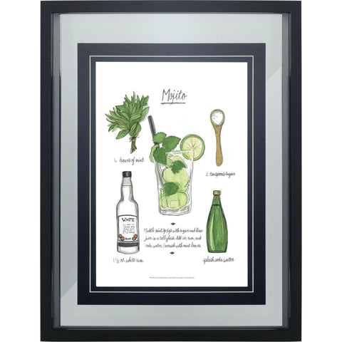 Mojito Bar Print white green glass painting black wood frame