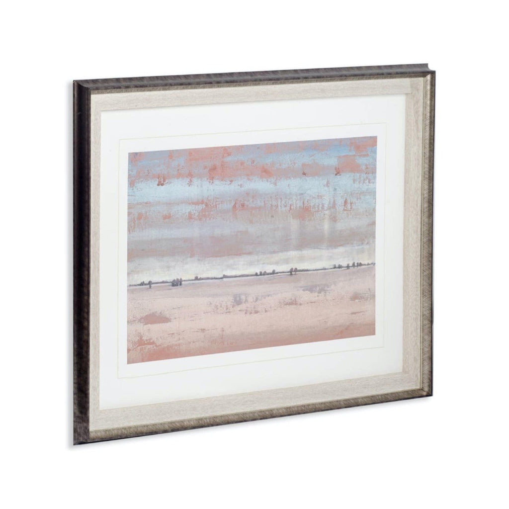 Sunset Artwork orange blue painting white canvas brown wood frame