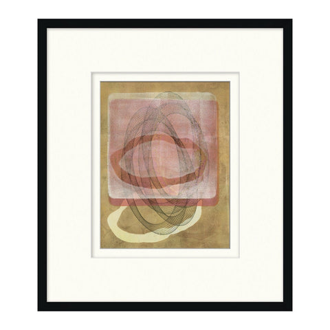 Modern Abstract II wall art black frame white matte salmon ivory brown