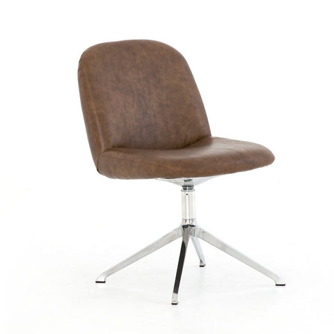 Boulder brown leather swivel desk chair