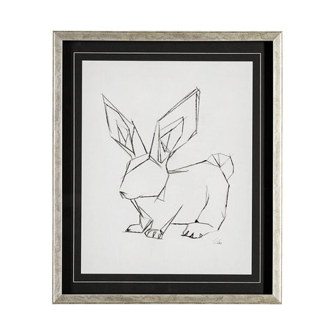 bunny artwork geo metal frame glass case ivory background