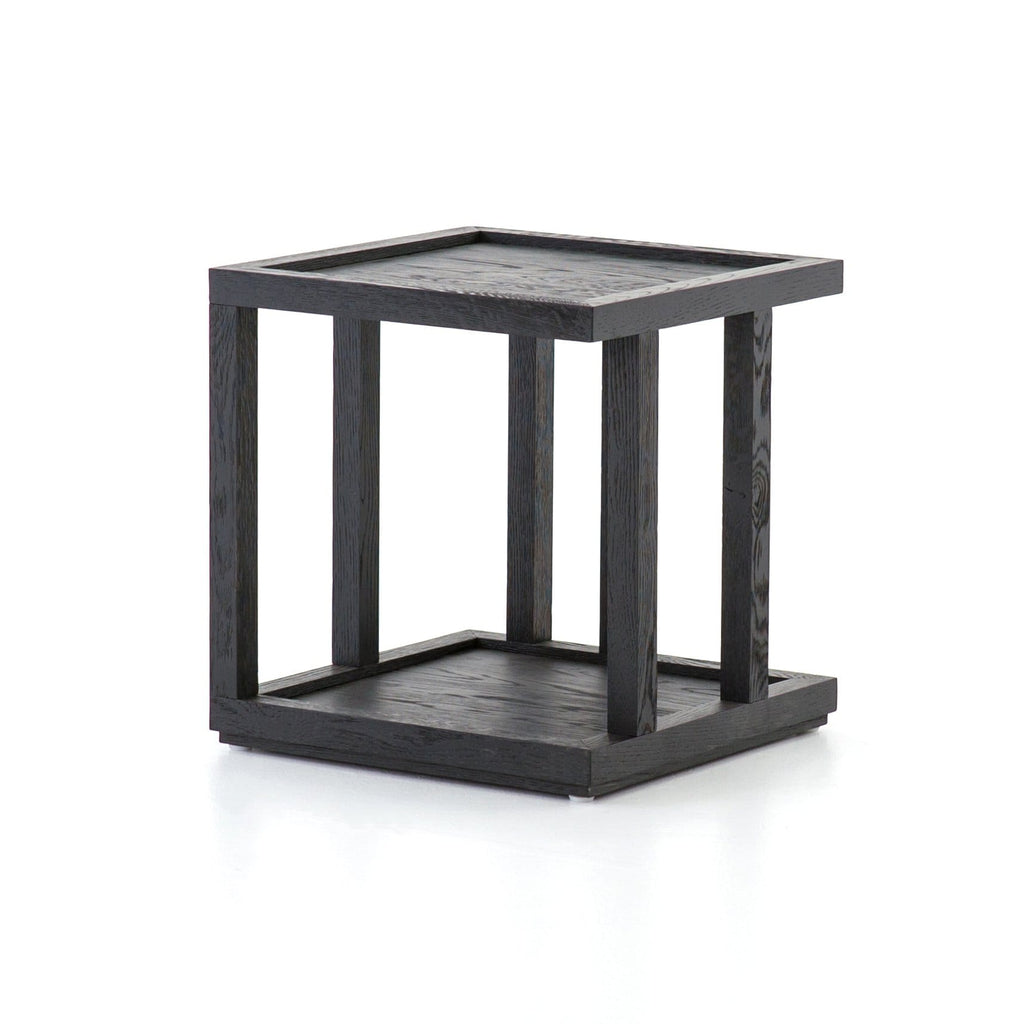 Burbank black oak square end table