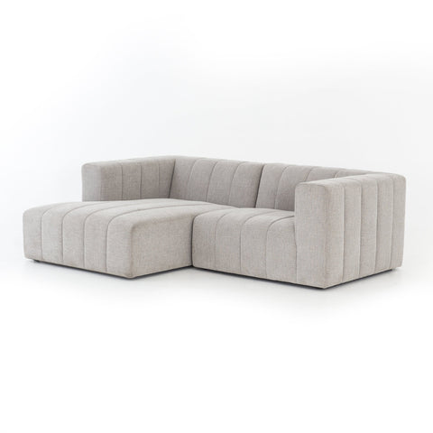Carlita 2 piece light grey channelled sectional
