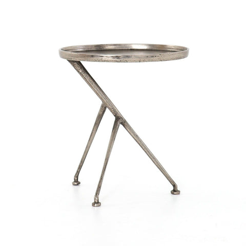 Celina oval tripod metal end table nickel