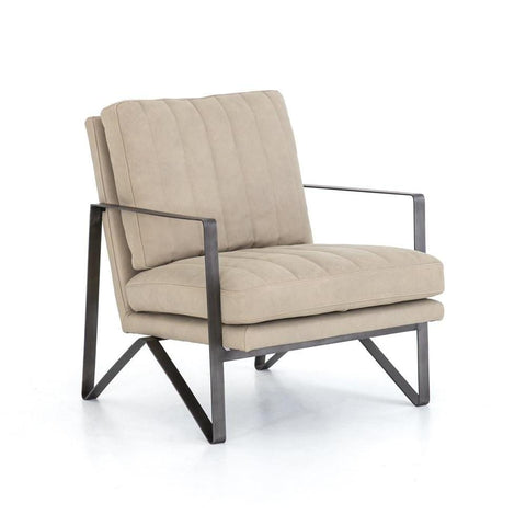 Chandler ivory leather chair metal frame