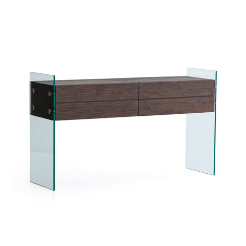 charlie console glass legs drawers