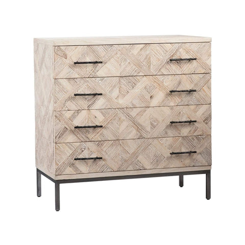 Elijah Chest grey elm wood black metal frame trendy x design