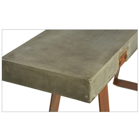 Kade Console Table grey concrete top industrial steel rust finish