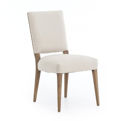 Coco white linen oak dining chair