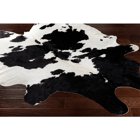 Cortez spotted black ivory cow hide