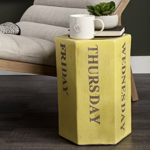 Day Side Table yellow finish ceramic
