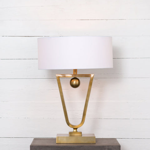 Deco white brass table lamp