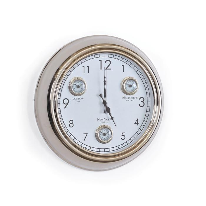 Dock white metal round wall clock