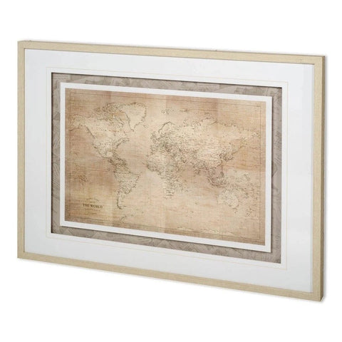 Double World Map tan white paper print brown wood frame