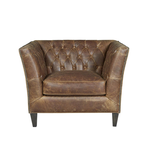 Durango brown leather tufted chair