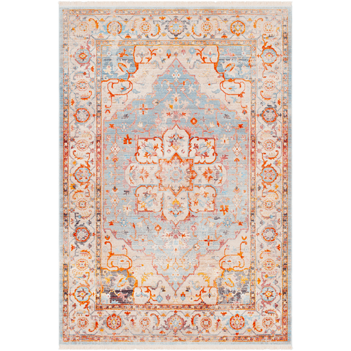 Durbin orange blue traditional acrylic rug