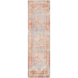 Durbin orange blue traditional acrylic rug runner
