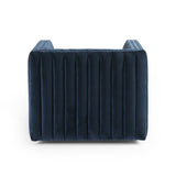 Ellen navy blue velvet channeling upholstery swivel chair