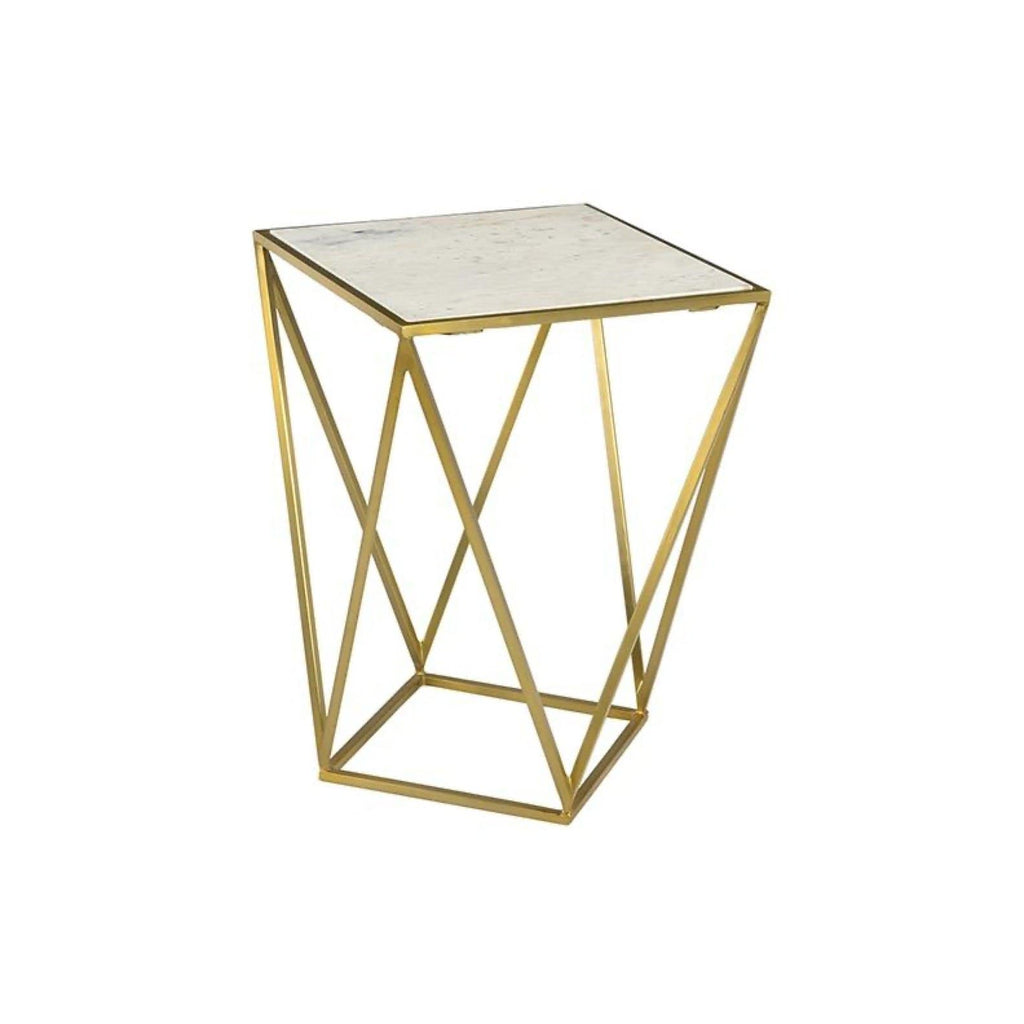 Siena End Table white marble antique brass