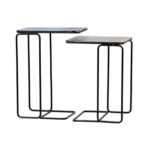 Atlas Nesting Table black iron base aluminum bronze top industrial front