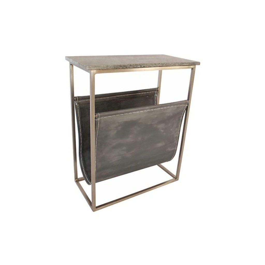 Hera End Table marble top iron leather
