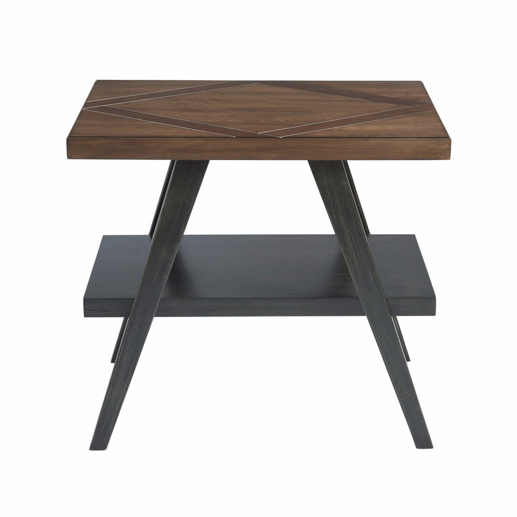 Ensley two tone wood end table