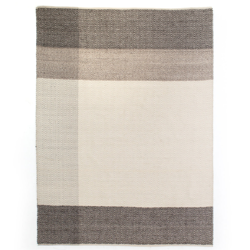 Everly ivory brown wool cotton rug