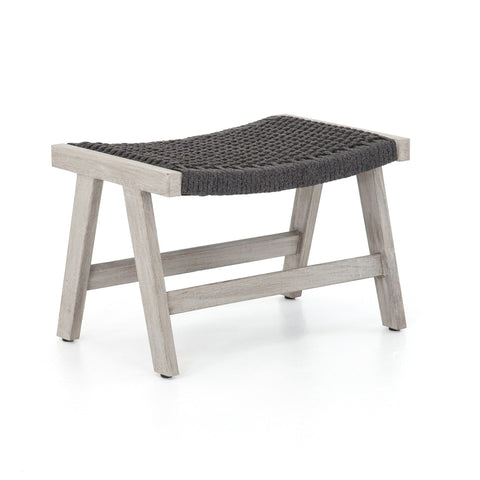 Franklin charcoal teak olefin woven ottoman