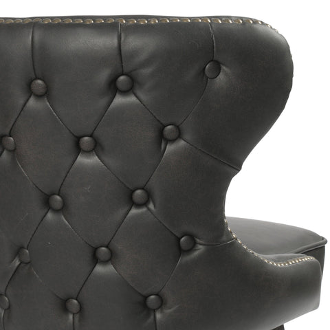 Fallon black leather tufted swivel bar stool