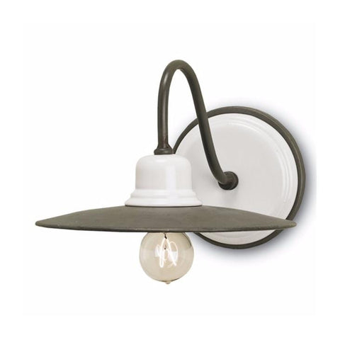 Faye white ceramic grey iron wall sconce