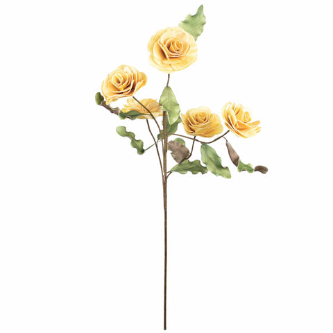Beauty Rose Flower yellow pedals green brown leaves