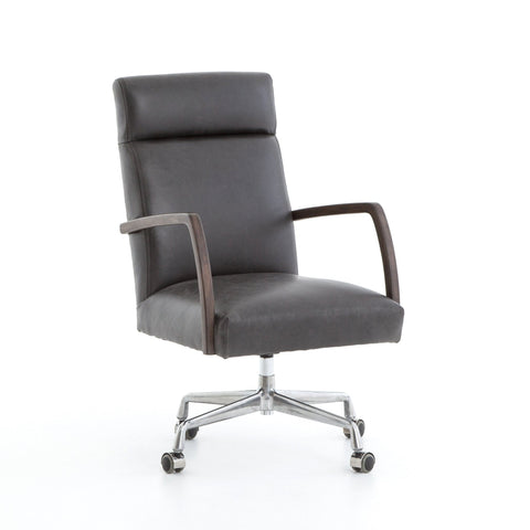Fullerton black leather oak desk chair