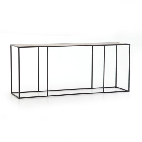 Fulton brass clad top metal console table