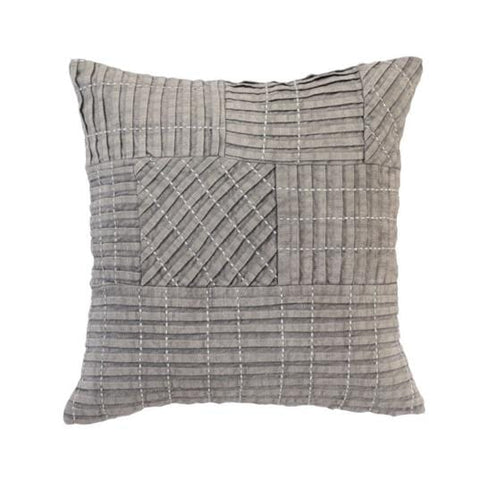 grey pleated cotton pillow