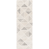 Harmony ivory grey geometric wool rug runner