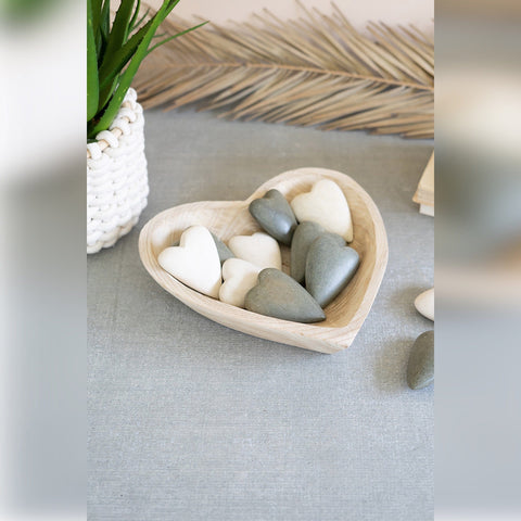Heart Wood Bowl solid wood white wash accessories decor decorative