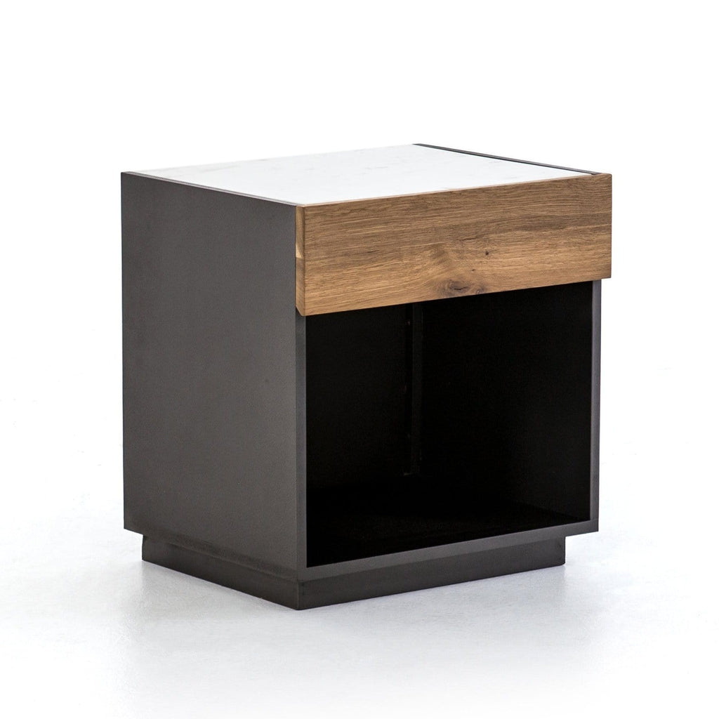 Holbrook oak reclaimed wood marble top nightstand